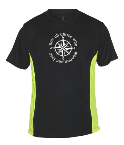 Men's Reflective Short Sleeve Shirt - Compass - Black w/ Lime Sides