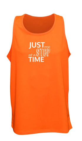 Men's Reflective Tank - Just One Step at a Time - Orange