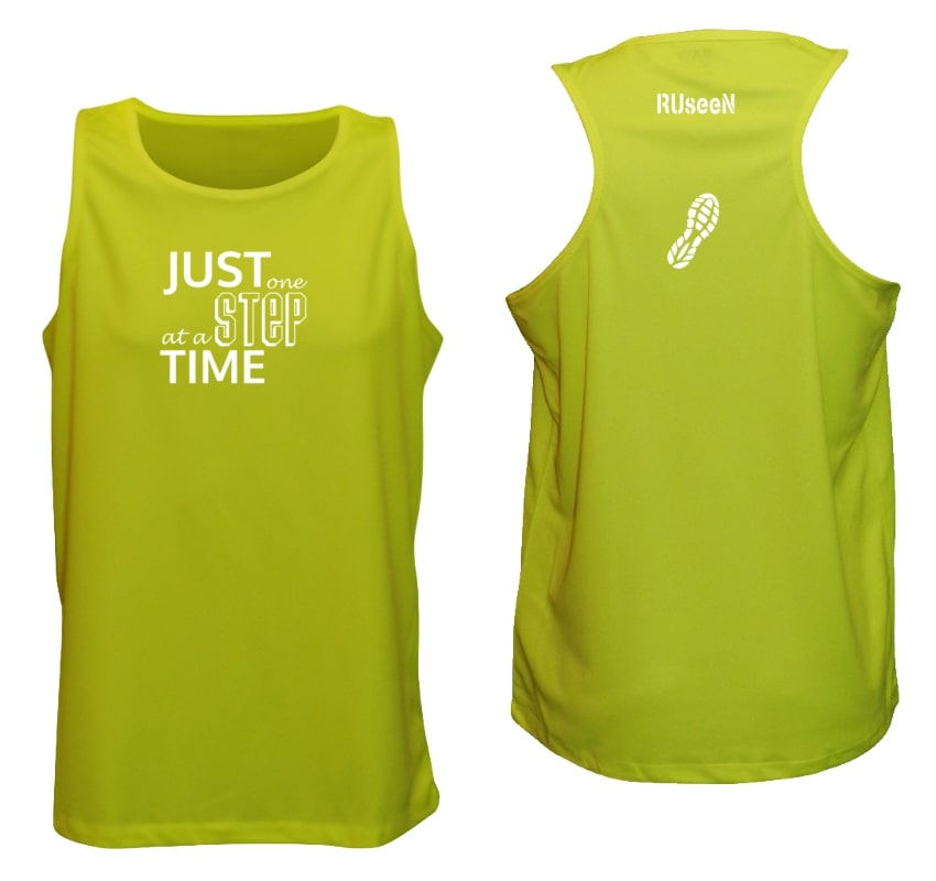 Men's Reflective Tank - Just One Step at a Time - Lime Yellow