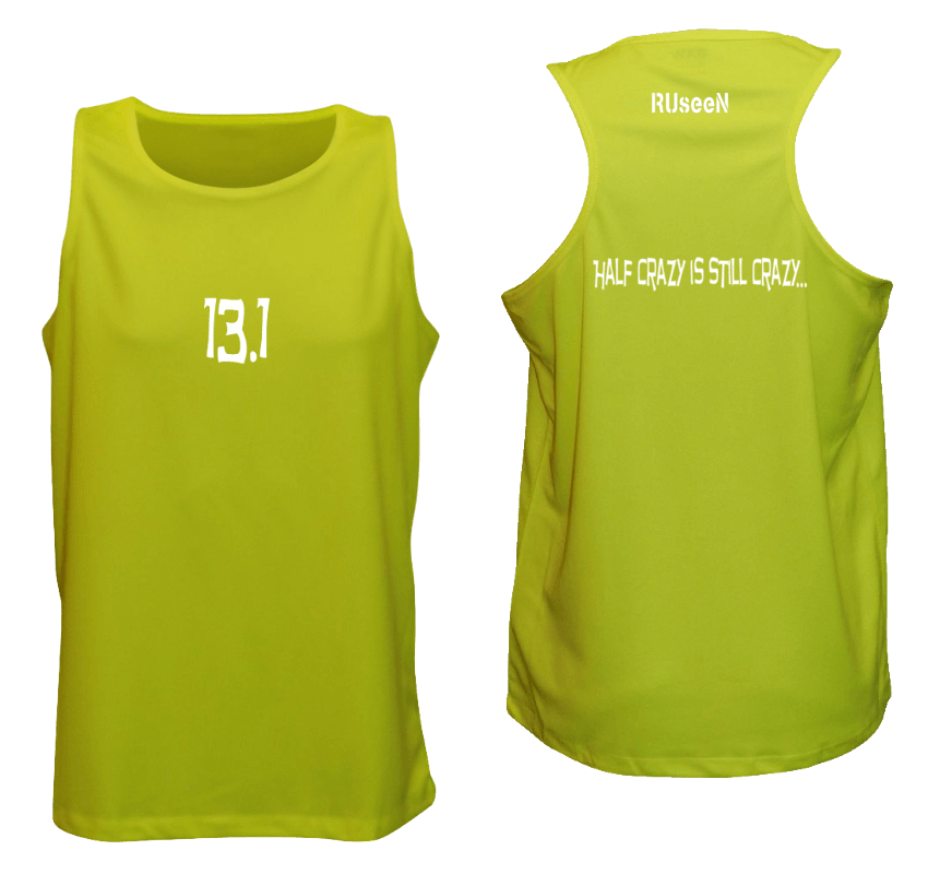 Men's Reflective Tank Top - 13.1 Half Crazy - Front & Back - Lime Yellow