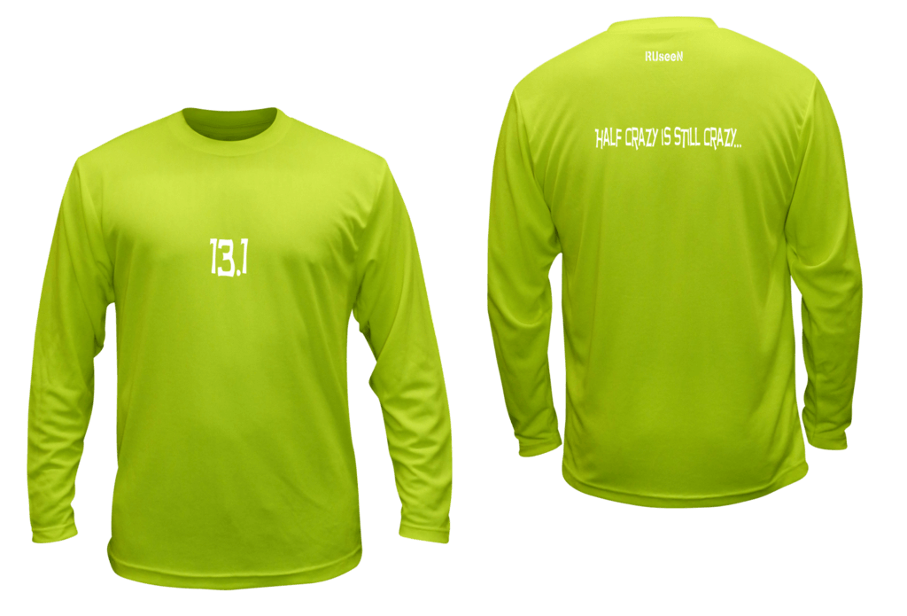 Unisex Reflective Long Sleeve Shirt - 13.1 Half Crazy - Front & Back - Lime Yellow