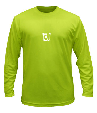 Unisex Reflective Long Sleeve Shirt - 13.1 Half Crazy - Front - Lime Yellow