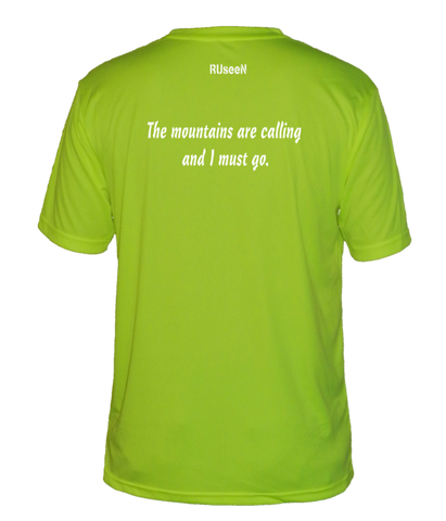 Men's Reflective Short Sleeve Shirt - Mountains - Back - Lime Yellow