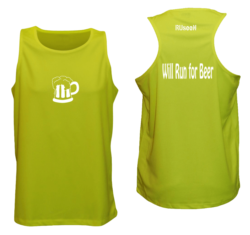 Men's Reflective Tank - Run for Beer - Front & Back - Lime Yellow