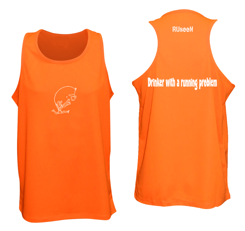 Men's Reflective Tank Top- Drinker with a Running Problem - Front & Back - Orange