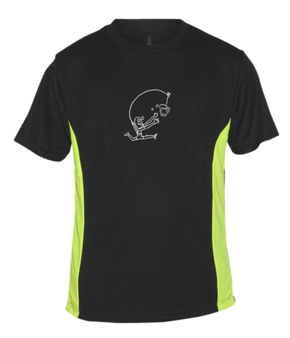 Men's Reflective Short Sleeve Shirt - Drinker with a Running Problem - Front - Black w/ Lime Yellow Stripe
