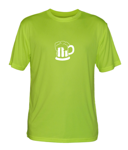 Men's Reflective Short Sleeve Shirt - Will Run for Beer - Front - Lime Yellow
