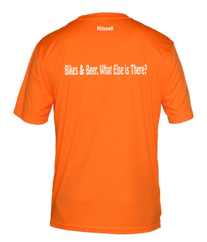 Men's Reflective Short Sleeve Shirt - Bikes & Beer - Back - Orange