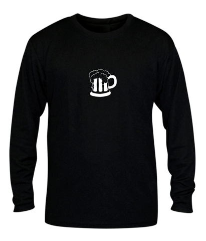 Unisex Reflective Long Sleeve - Will Run for Beer - Front - Black