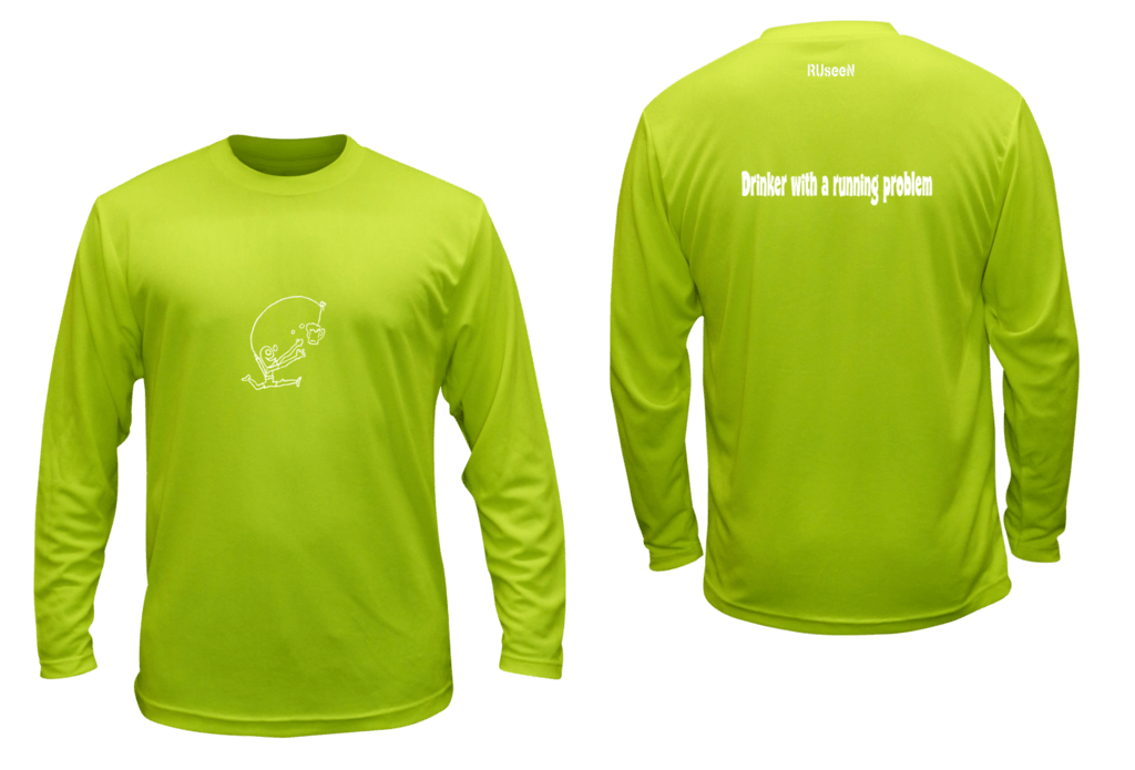 Unisex Reflective Long Sleeve Shirt - Drinker with a Running Problem - Front & Back - Lime Yellow