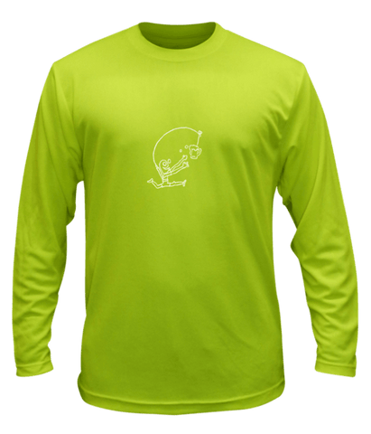 Unisex Reflective Long Sleeve Shirt - Drinker with a Running Problem - Front - Lime Yellow