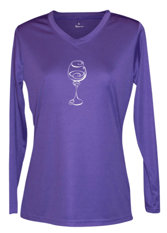 Women's Reflective Long Sleeve Shirt - Better Be Wine - Front - Dark Purple