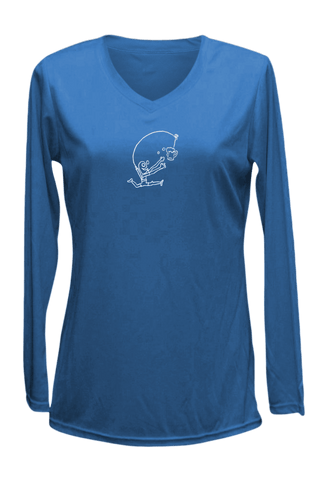 Women's Reflective Long Sleeve Shirt - Drinker with a Running Problem - Front - Electric Blue