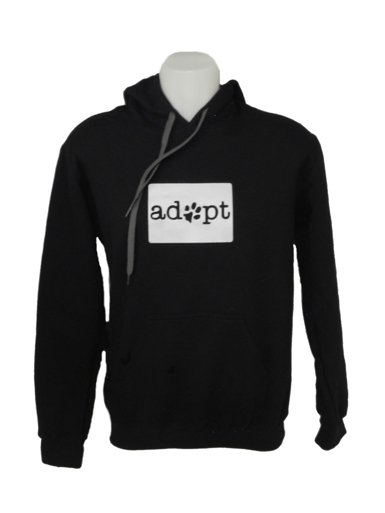 Unisex Reflective Hoodie - Adopt - Front - Black