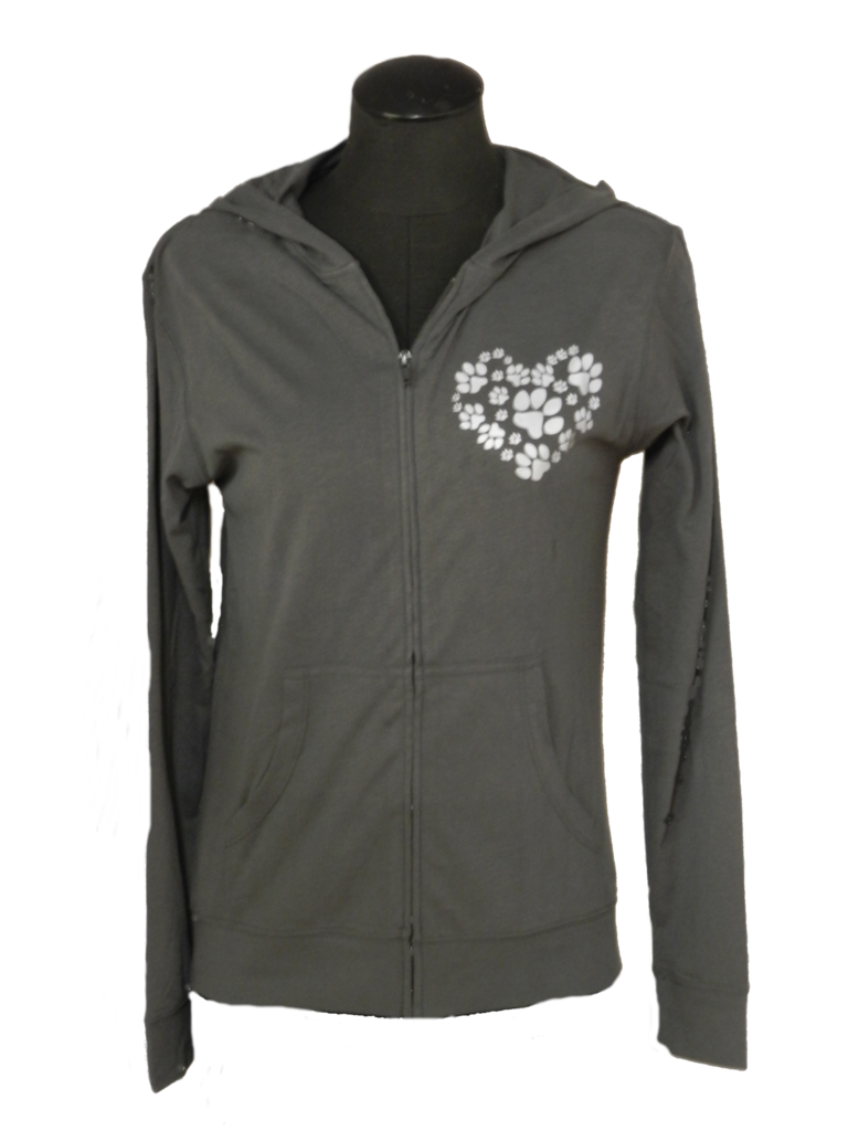 Women's Reflective Long Sleeve Zip - Heart of Paws - Front - Gray