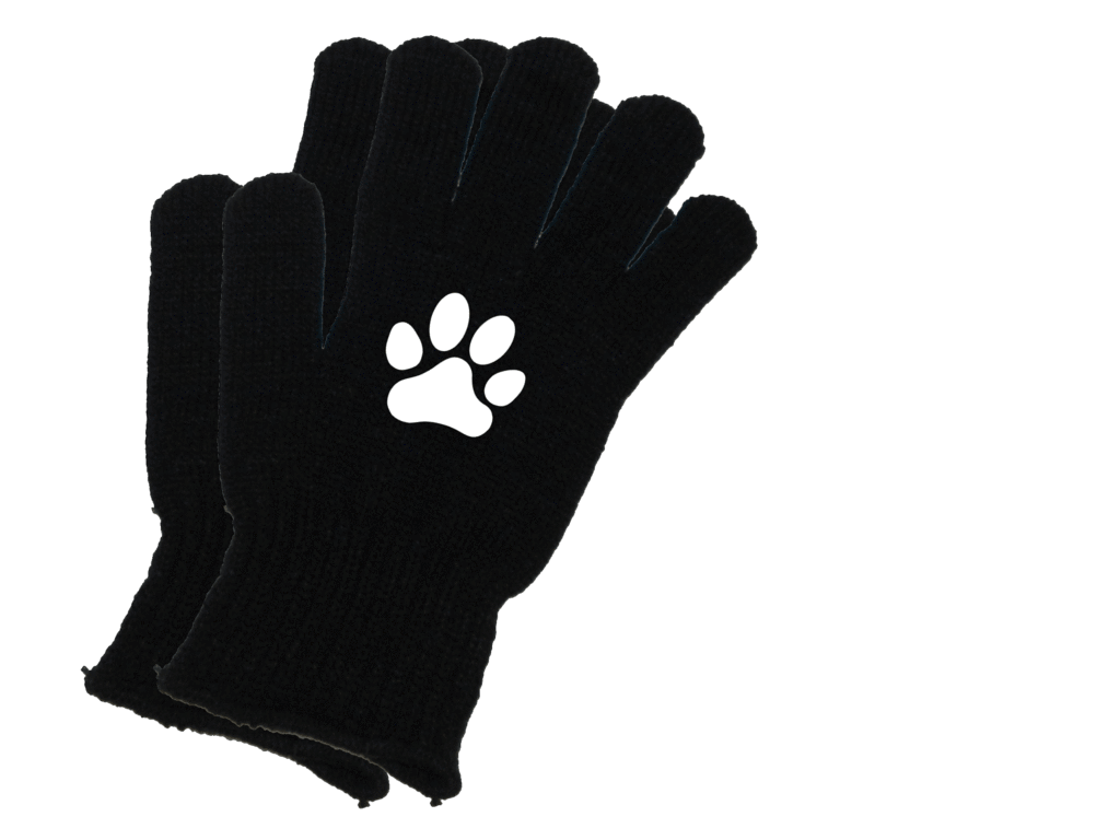 Reflective Knit Gloves - Paws - Combo - Black