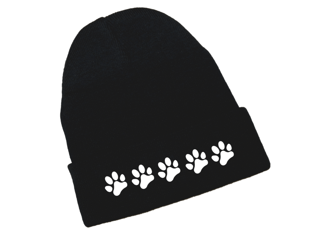 Reflective Knit Beanie - Paws - Black