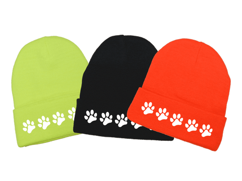 Reflective Knit Beanie - Paws - Front - Lime Yellow, Black, Orange
