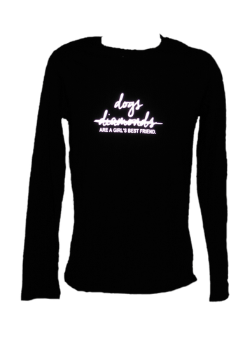 Women's Reflective Long Sleeve Shirt - Dogs Not Diamonds - Front - Black