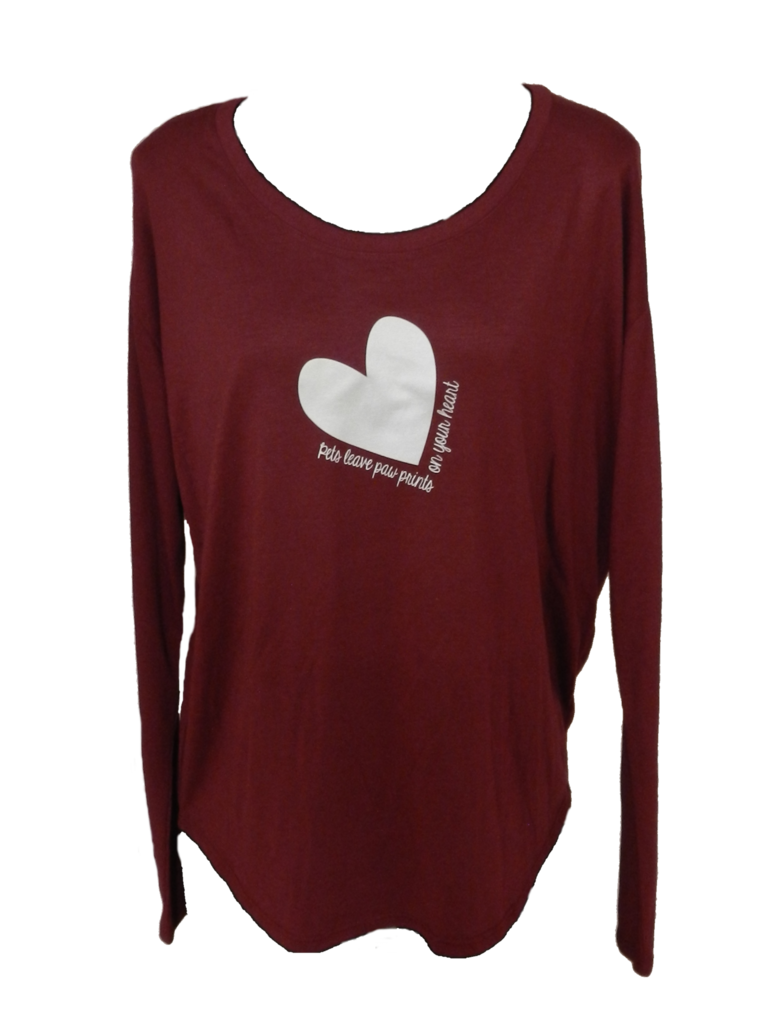 Women's Reflective Long Sleeve - Pets Leave Paw Prints - Front - Maroon
