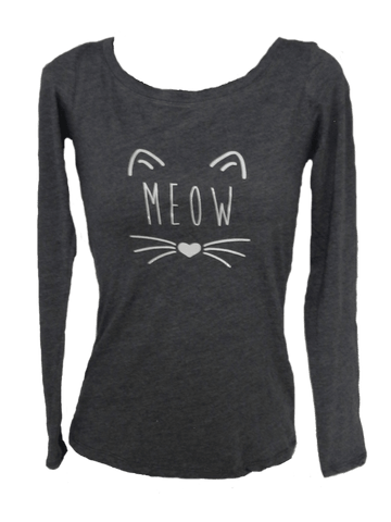 Women's Reflective Long Sleeve Shirt - Meow - Front - Vintage Navy