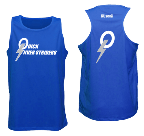 Men's Reflective Tank Top - Quicksilver Striders - Front & Back - Royal Blue