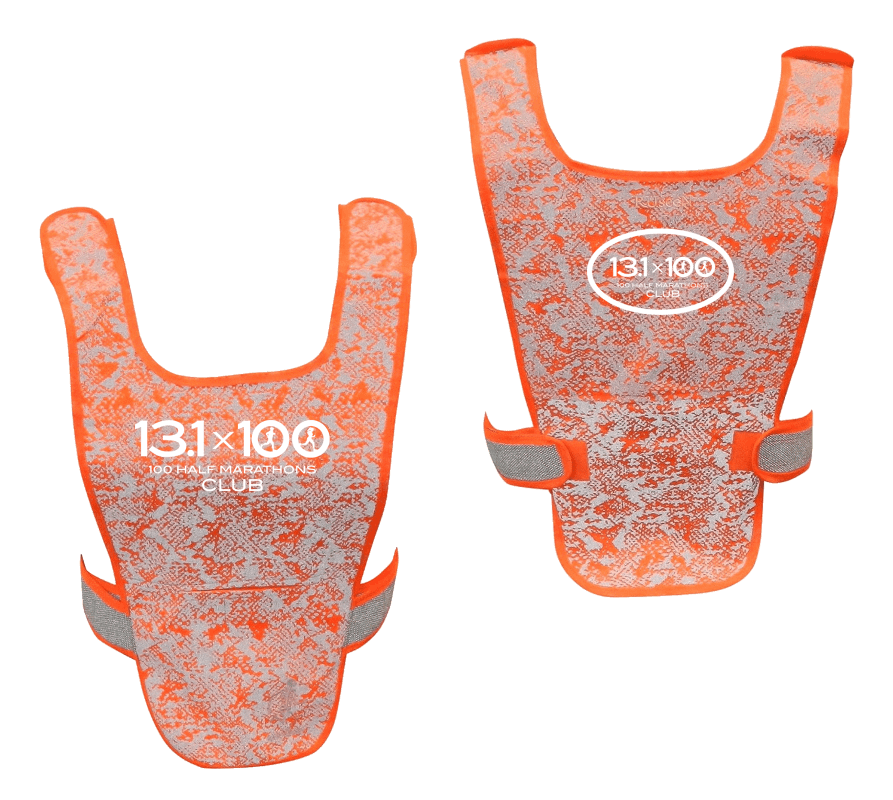 Reflective Running Vest - 100 Half Marathons Club - Front & Back - Orange - White Logo