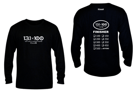 Unisex Reflective Long Sleeve Shirt - 100 Half Marathons Finisher - Front & Back - Black