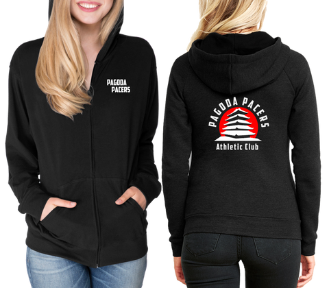 UNISEX REFLECTIVE LONG SLEEVE ZIP HOODIE - PAGODA PACERS - BLACK - Front & Back