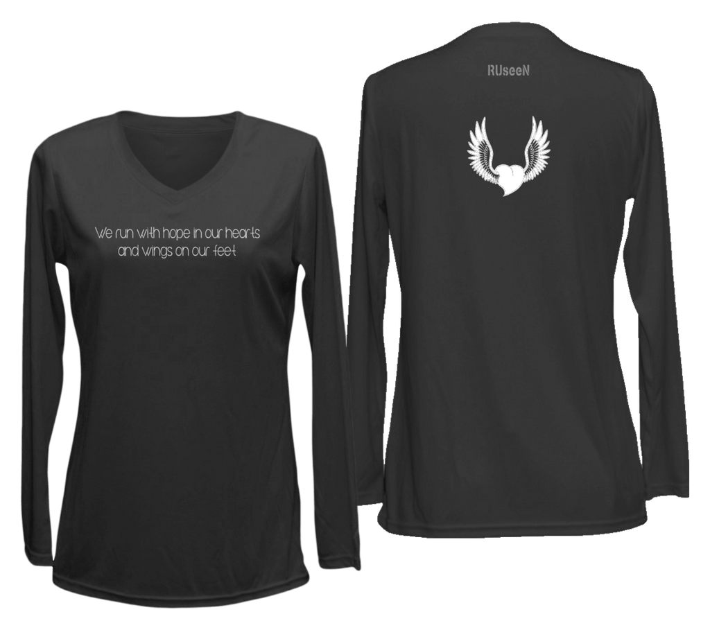 Women's Reflective Long Sleeve Shirt - Winged Heart - Front & Back - Black