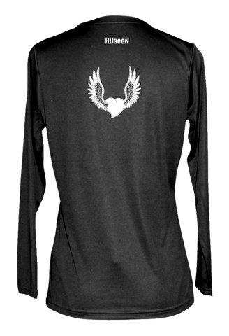 Women's Reflective Long Sleeve Shirt - Winged Heart - Back - Black