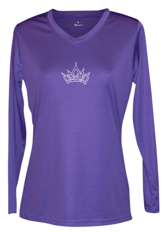 Women's Reflective Long Sleeve Shirt - Sparkle - Front - Dark Purple