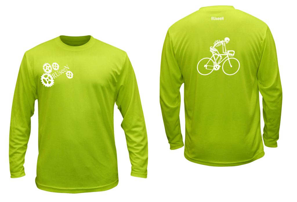 Unisex Reflective Long Sleeve Shirt - Male Skeleton on Road Bike - Front & Back - Lime Yellow