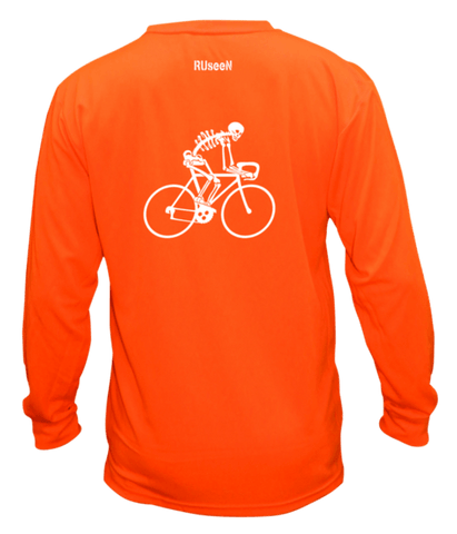 Unisex Reflective Long Sleeve Shirt - Male Skeleton on Road Bike - Back - Orange