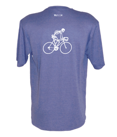 Men's Reflective Short Sleeve Shirt - Male Road Bike Skeleton - Back - Royal Heather