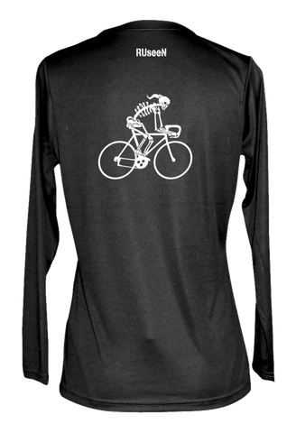 Women's Reflective Long Sleeve Shirt - Road Bike Skeleton - Back - Black