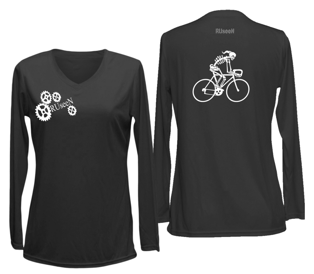 Women's Reflective Long Sleeve Shirt - Road Bike Skeleton - Front & Back - Black