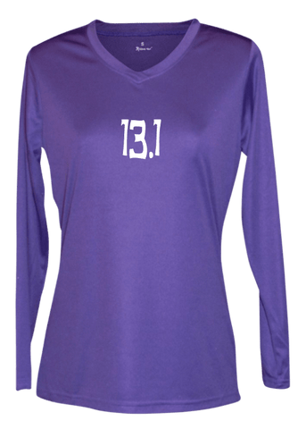 Women's Reflective Long Sleeve Shirt - 13.1 Half Crazy - Front - Dark Purple