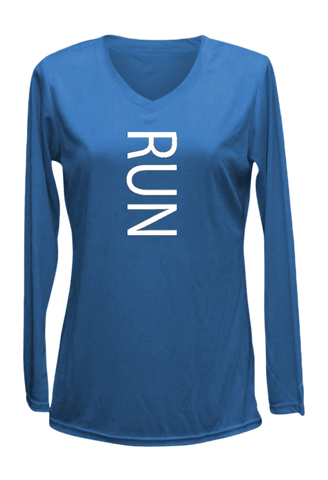 Women's Reflective Long Sleeve Shirt - RUN - Front - Electric Blue