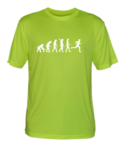 Men's Reflective Short Sleeve Shirt - Evolution of a Runner - Front - Lime Yellow