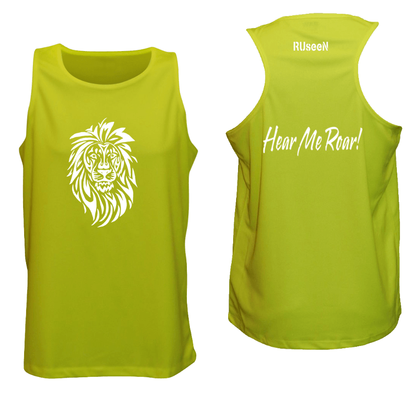 Men's Reflective Tank Top - Lion, Hear Me Roar! - Front & Back - Lime Yellow