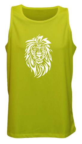 Men's Reflective Tank Top - Lion, Hear Me Roar! - Front - Lime Yellow