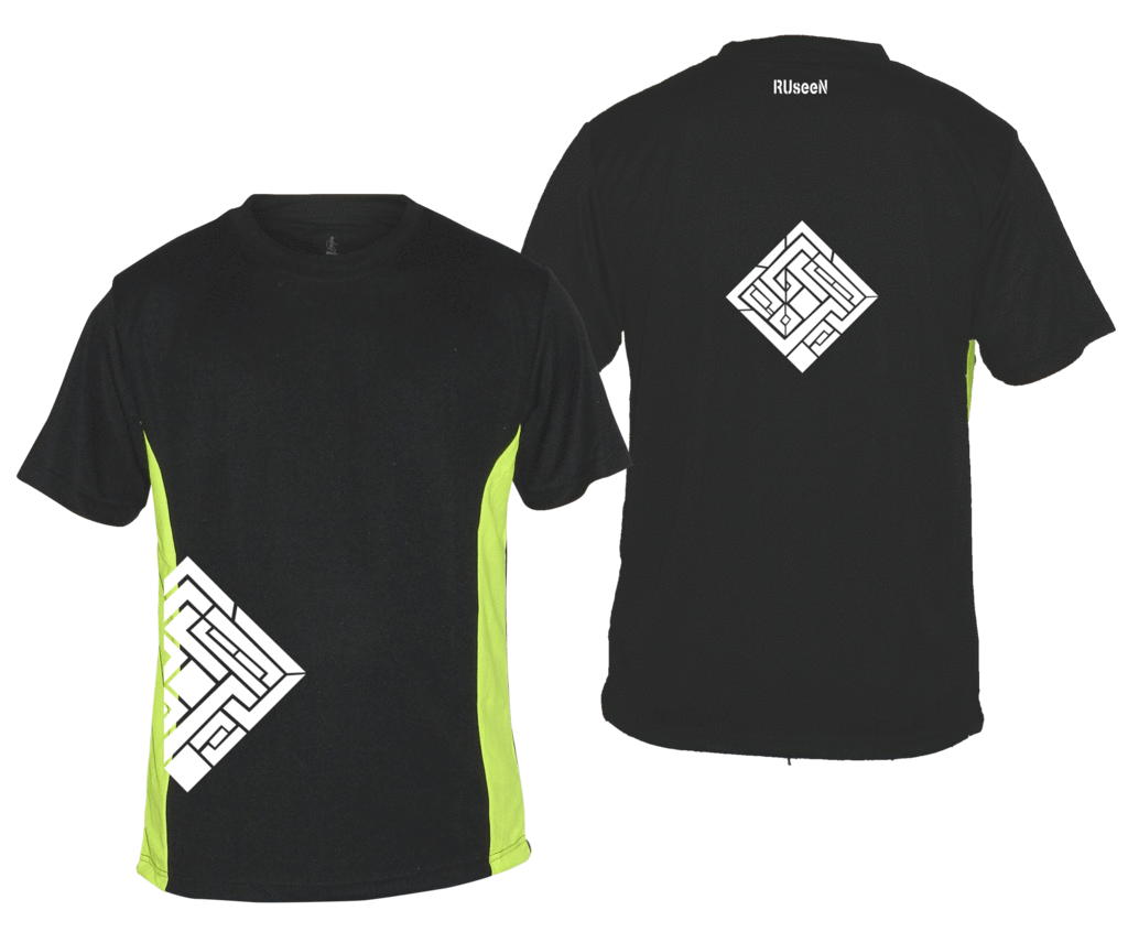 Men's Reflective Short Sleeve Shirt - Labyrinth - Front & Back - Black w/ Lime Yellow Stripe