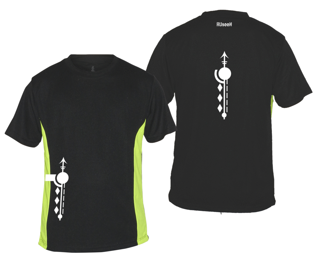 Men's Reflective Short Sleeve Shirt - Paths - Front & Back - Black w/ Lime Yellow Sides