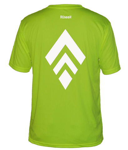 Men's Reflective Short Sleeve Shirt - Broken Diamond - Back - Lime Yellow