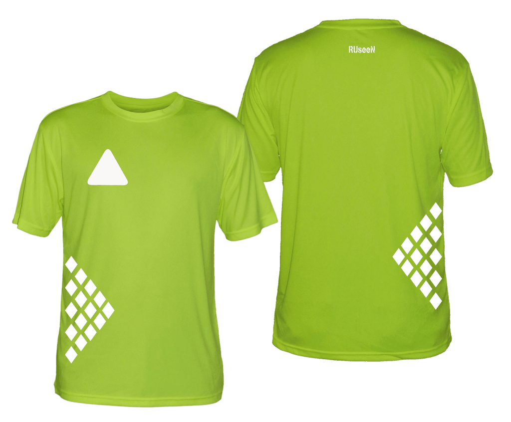 Men's Reflective Short Sleeve Shirt - Diamond Pattern - Front & Back - Lime Yellow