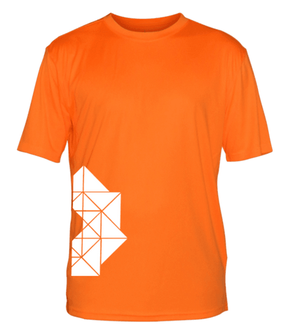 Men's Reflective Short Sleeve Shirt - Geometric - Front - Orange