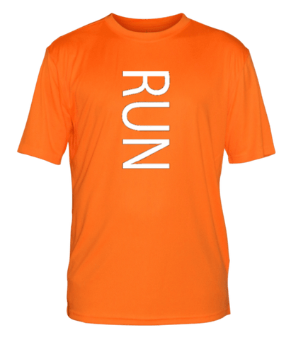 Men's Reflective Short Sleeve Shirt - RUN - Front - Orange