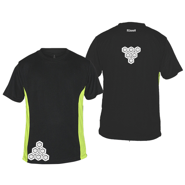 Men's Reflective Short Sleeve Shirt - Cube Stacks - Black w/ Lime Yellow Stripe - Front & Back