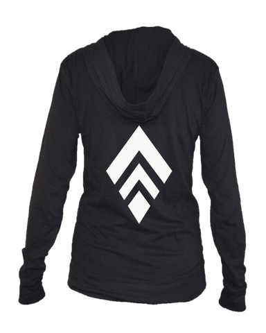 Unisex Reflective Long Sleeve Full Zip Cotton Blend - Broken Diamond - Back - Black